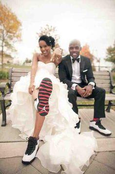 Bride & Groom wear Jordan's