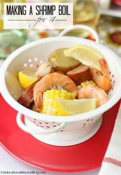 I realize you can't write a post about entertaining with a shrimp boil without sharing the recipe for said shrimp boil, but I also didn't want the original party post to get too cluttered with ideas and recipes. I'm sharing my small-scale recipe here today, which can be served in mini colanders to