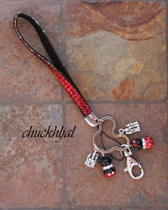 Red Bling Lanyard Keychain Mickey N Minnie Mouse by chuckhljal