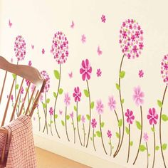 Removable Decals DIY Home Art Decor Lovely Pink Flowers Kids Room Wall Stickers #Fancyqube #WallSticker
