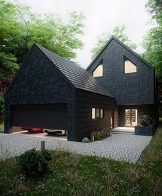 The House in the Woods is designed and visualized by Antony Polyvianyi from Kiev Ukraine - Architecture and Home Decor - Bedroom - Bathroom - Kitchen And Living Room Interior Design Decorating Ideas - Design Exterior, Garage Design, Black House Exterior, Black Brick, Black Barn, Black Door, House Goals, House In The Woods, House Colors