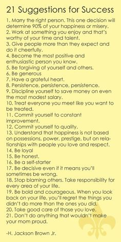 21 Suggestions for Success  Source: saying images.com