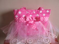 Personalized Tutu Tote Pink Polka Dot Tote by LadyBugSewn on Etsy