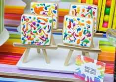 Cookies on easels at a art birthday party! See more party ideas at CatchMyParty.com!