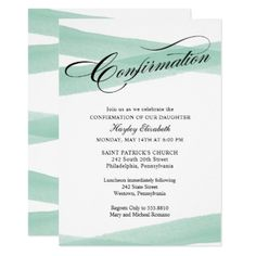 Confirmation Mint Green Watercolor Invitation - script gifts template templates diy customize personalize special