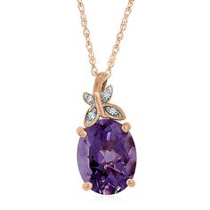 Amethyst & Lab-Created White Sapphire Pendant in 14K Rose Gold over Sterling Silver - 2252176