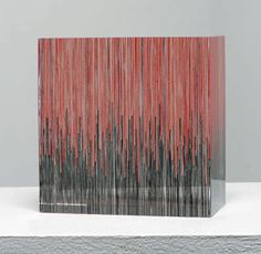 """LOOP AND RETURN by Laura Thomas __   cotton encapsulated in acrylic  6.375"""" x 6.375"""" x 3.25""""    2009"""