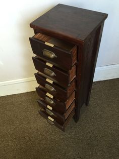 Antique Solid Wood Large Card File Apothecary Cabinet Vtg Library Table