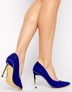 Ted Baker Elvena Blue Suede Pointed Court Shoes