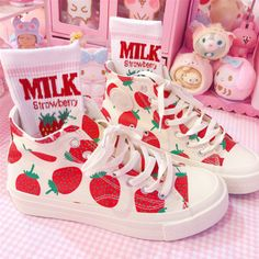 Harajuku & Fashion strawberry canvas shoes.    We offer FREE and USPS shipping for USA and China Post for any other country in the world. Customer service is included in the price too!!    Material: canvas, rubber;  Color: as images;  Style: high-top, low-top;    Size: US size 5-8.5 (If your foot...