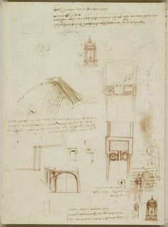A bird's wing and architectural studies Leonardo da Vinci (Vinci 1452-Amboise 1519)   #TuscanyAgriturismoGiratola