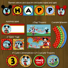 Mickey Mouse Clubhouse Printable Birthday Party Package - Mickey Clubhouse Complete Birthday Set - Invitation, cupcake toppers, banner etc by SplashboxPrintables on Etsy https://www.etsy.com/listing/99264452/mickey-mouse-clubhouse-printable