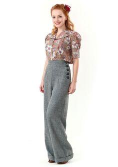 Love the  1940s style ladies swing trousers in steel blue tweed