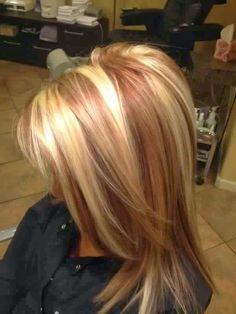 golden blonde hair with reddish caramel lowlights