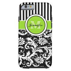 Monogram Lime Black White Striped Damask iPhone 6  iPhone 6 Case