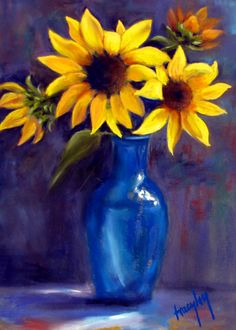 Sunflowers in Blue Vase by Tracy Lang Studio Sunflower Pictures, Sunflower Art, Art Floral, Watercolor Flowers, Watercolor Paintings, Cuadros Diy, Sunflowers And Daisies, Polychromos, Pastel