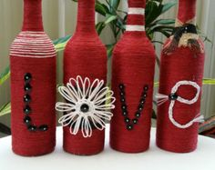 Upcycled Wine Bottles wrapped in twine and by StacysHappyPlace