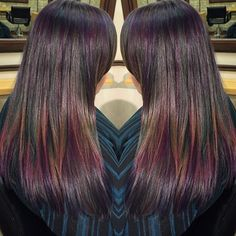 Oil slick hair coloris is beautiful hair make up nails who said that brunettes cant have colorful hair oil slick technique does it solutioingenieria Images