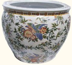 Oriental Furnishings - Chinese Porcelain Fish Bowl Planter with Painted Parrot, $82.00 (http://www.orientalfurnishings.com/chinese-porcelain-fish-bowl-planter-with-painted-parrot/)