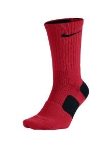 Nike Elite Crew Socks  Targeted cushioning and support Footstrike cushioning aligns with pressure patterns Dri-FIT fabric wicks sweat, keeps feet dry and comfortable Reinforced heel and toe for durability in high-wear areas Sizes: Adult - Small (4-6) Medium (6-8) Large (8-12)