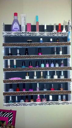 My homemade nailpolish shelf all I used was foam board, a hot glue gun, and some decorations :) love ittt