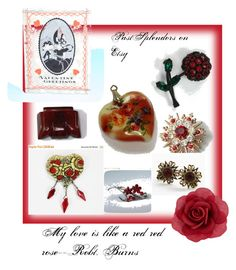 """""""My Love is Like a Red Red Rose"""" by pastsplendors ❤ liked on Polyvore featuring Accessorize, vintage, women's clothing, women, female, woman, misses and juniors"""