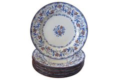 Mintons Flow Blue Plates, S/6, C. 1840 on OneKingsLane.com