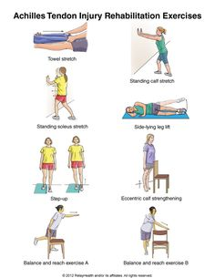 Causes of Achilles Tendon Injury The biggest contributing factor is ignoring the pain in the tendon. Achilles pain commonly occurs from . Achilles Tendonitis Exercises, Achilles Stretches, Tendon D'achille, Calf Stretches, Stretching, Achilles Tendon Rupture Treatment, Achilles Pain, Eccentric Exercise, Foot Exercises