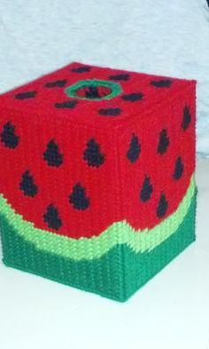 Handmade Plastic Canvas Watermelon Tissue Cover