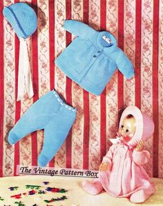 VINTAGE DOLLS SET for 18 or 19 / 3ply- doll knitting pattern