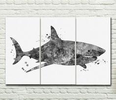 Shark Canvas Sets wall print set painting Shark Watercolor art print set home decor Shark  wall hanging map Panels art Canvas P171 by PaulArtPrint on Etsy https://www.etsy.com/listing/247632718/shark-canvas-sets-wall-print-set