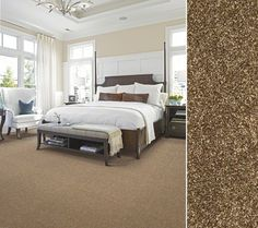 "HGTV HOME Flooring by Shaw carpeting in Anso nylon. Style ""High Style Texture"" color Hazel Nut."
