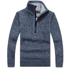 yizlo 2017 New fashion men's With warm cashmere sweater collar half zip Sweaters M-3XL