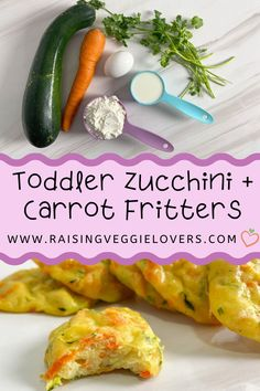 Zucchini and carrots are such healthy vegetables that they should be a regular part of your child's diet. These Toddler Zucchini + Carrot Fritters are the perfect way to incorporate them from baby to toddler years. Healthy Vegetables, Fritters, Baby Feeding, Zucchini, Carrots, Diet, Beignets, Per Diem, Diets