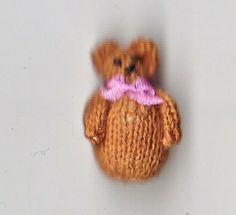 1/12 scale  knitted roly poly teddy bear.