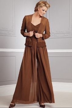 khaki Elegant Three Piece mother of the bride dress pants sets nmo-083