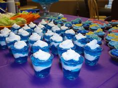 Blue and white jello cups (for kids)?  BYU colors.