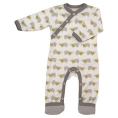 This cute baby grow has a unique kimono style opening. It has clever adjustable socks, so is a great baby romper for day and sleepsuit for night. Designed by Pigeon Organics, the stylish badger print is on high quality organic cotton, the mustard yellow scarf works beautifully with the grey print to create a playful unisex baby grow.