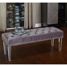 The beautiful Simple Living Leona Bench is perfect for the bedroom, dressing room or for any area that needs extra seating space. The modern acrylic legs support the lush velvet upholstered bench in your choice of three colors.