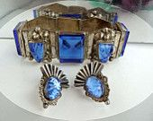 Blue Masked Sterling Silver Taxco Bracelet & Screwback Earrings
