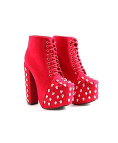 Shyann Red Suede Skull Platform Boots- footwear- missguided
