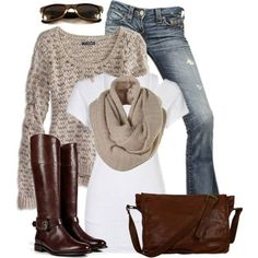 Fall / winter look sweater outfits, sweater scarf, fall outfits, casual Mode Outfits, Casual Outfits, Fashion Outfits, Womens Fashion, Casual Wear, Casual Shoes, Fashion Boots, Latest Fashion, Fashion Ideas