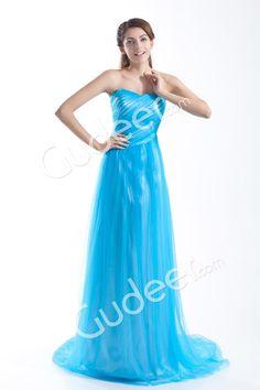aqua strapless a-line floor length simple evening dress from gudeer.com