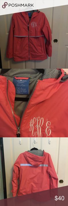 Monogrammed rain jacket Charles river monogrammed rain jacket. My initials are KEK so my monogram is KKE (last name in the middle) this jacket is in perf condition and wore a few times just too small now Lilly Pulitzer Jackets & Coats Utility Jackets