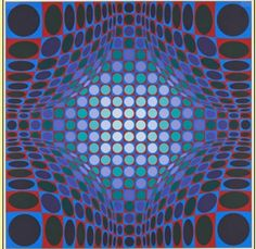 Victor Vasarely École franco hongroise  Edition: 250  Medium:Estampe-multiple, lithography in colors on paper  Size: 75 x 75 cm  Signed and numbered