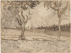 Vincent van Gogh, The Road to Tarascon, late July–early August 1888. Reed pen and ink over graphite on paper, 9 9/16 x 12 9/16 inches (24.3 x 31.9 cm)