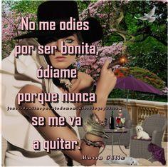 Frases Bonitas Para Todo Momento. : No me odies por ser bonita, ódiame porque nunca se me va a quitar.