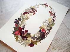 Wreath botanical Pressed flowers Floral collage Botanical print Flowers artwork Real dried flowers wreath Fine art Botanical picture by FloralCollage on Etsy