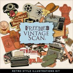Freebies Retro Style Illustrations Kit