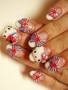 Union Jack Hello Kitty nail art. Show of your love for you country... and Hello Kitty!